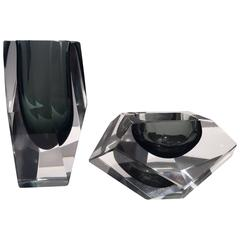 Flavio Poli Murano Glass Vase and Ashtray Set