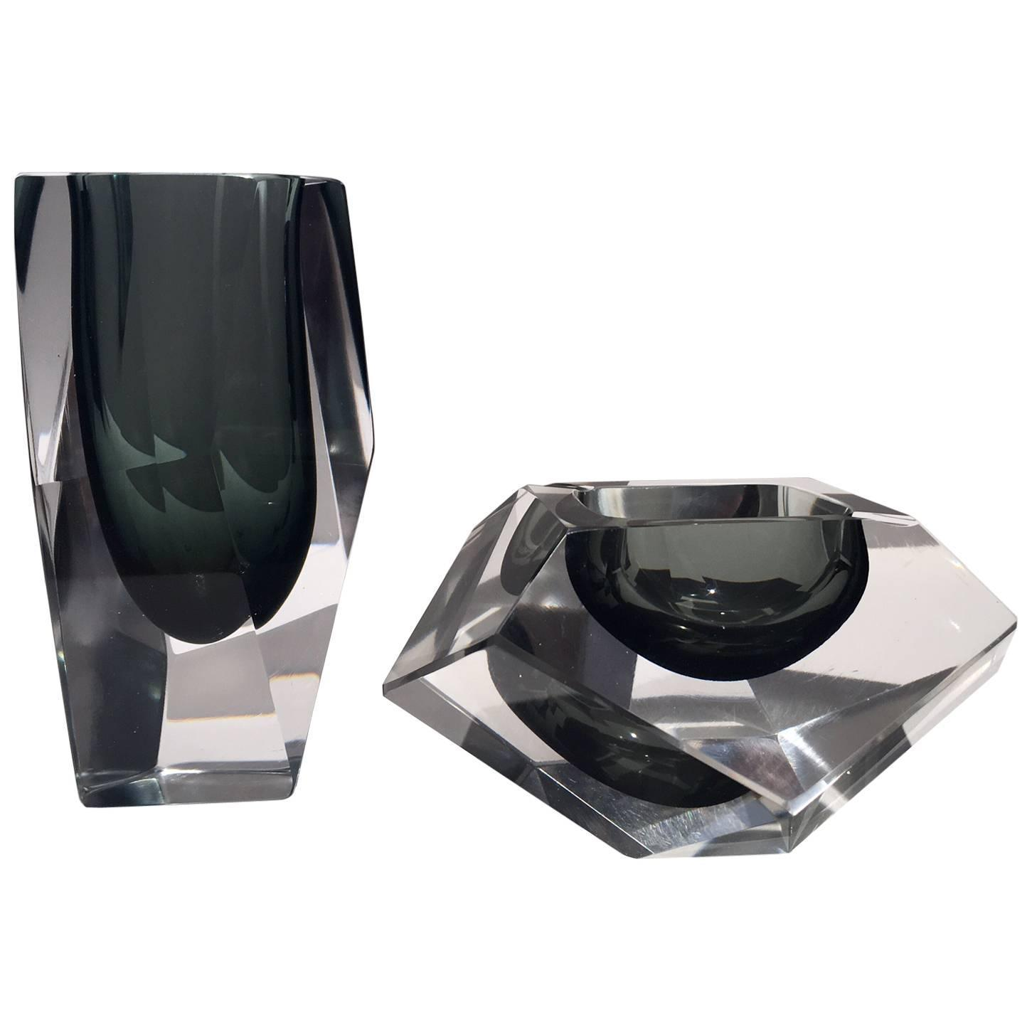Flavio poli murano glass vase and ashtray set for sale at 1stdibs reviewsmspy