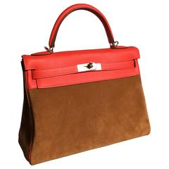 Hermes Kelly, Rare Limited Edition Grizzly Capucine Handbag
