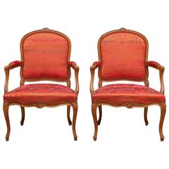 Pair of 19th Century Louis XV Carved Walnut Armchairs