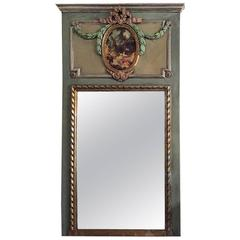 French XVI Style Painted and Polychromed Trumeau Mirror