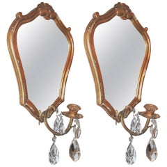 Pair of Giltwood French Single Light Mirrored Back Sconces or Girandoles