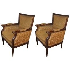 Pair Of Louis XVI Style Bergere Arm Office Chairs Manner Of Jansen