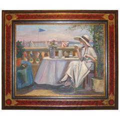Oil On Canvas Woman by the Sea by Baton HIghly Decorative Chinoiserie Frame