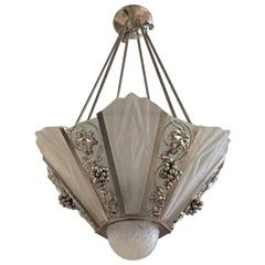 French Art Deco Geometric Chandelier Signed by Degue