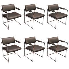 Set of Six Milo Baughman Dining Chairs