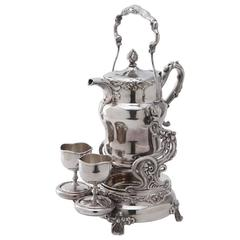 19th Century American Tilting Silver Plated Samovar with Two Goblets and Marking