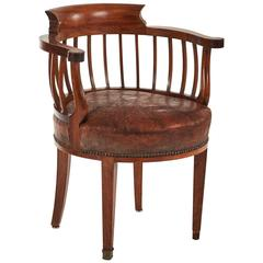 1880s England Round Wood and Leather Cushion Desk Armchair