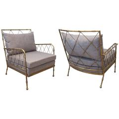 Pair of Gilt Metal Faux Bamboo Lounge Chairs