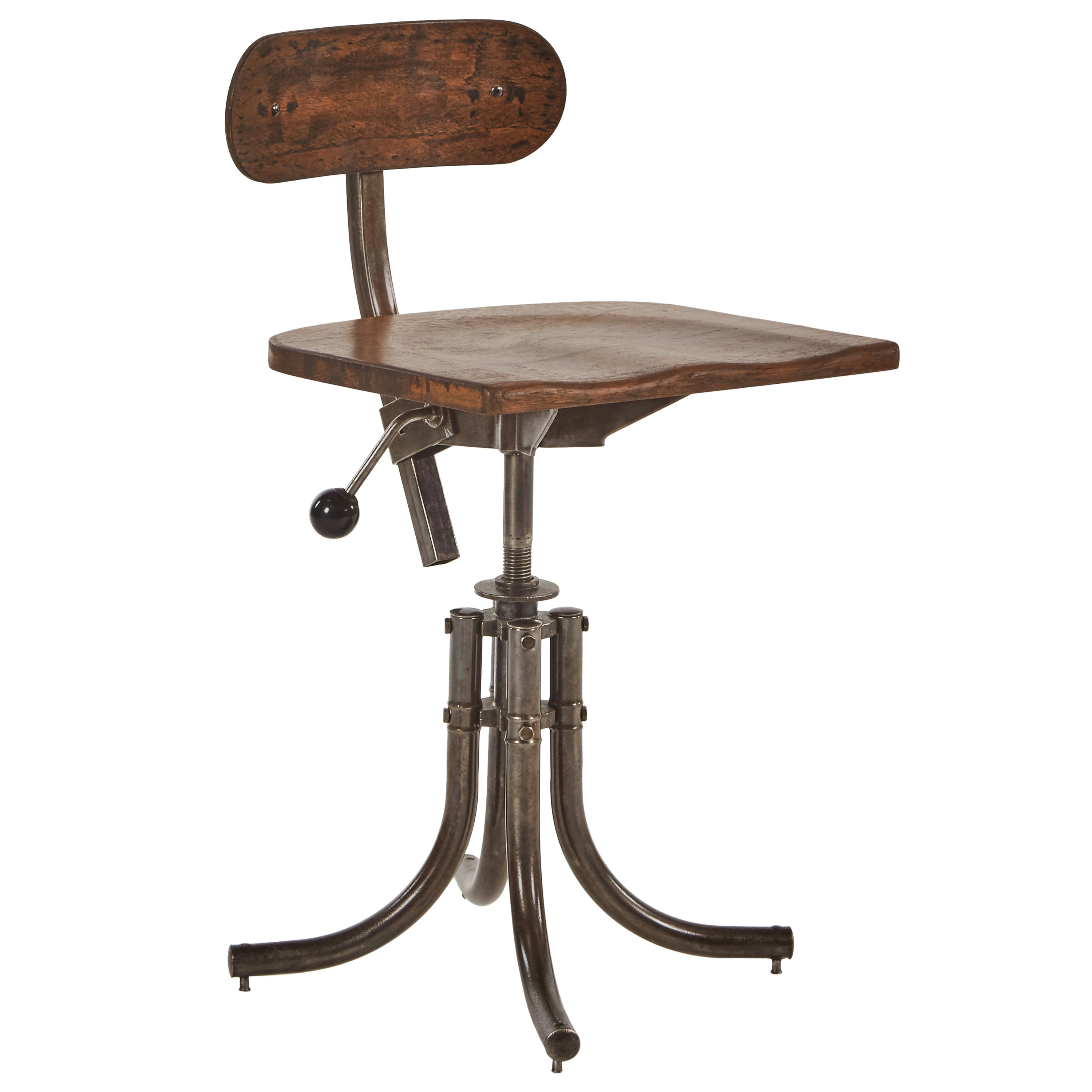 Antiques Vintage Antique Industrial Ajustrite Metal Stool With Curved Wooden Seat Benches & Stools