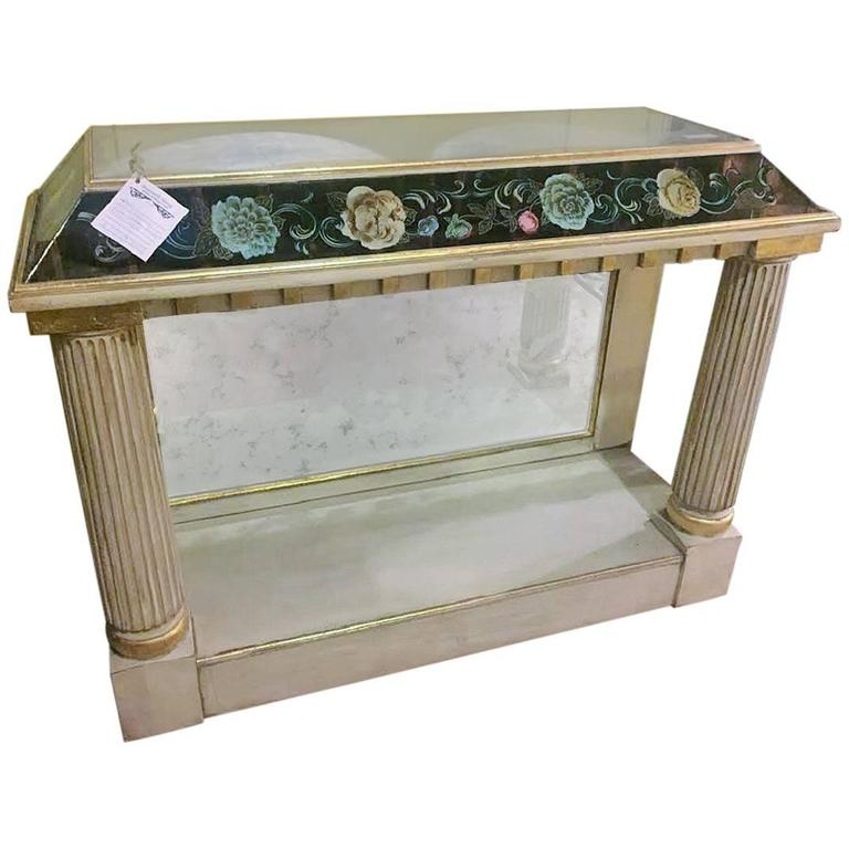 Fine Églomisé Pier Table With Distressed Glass Top And Sides