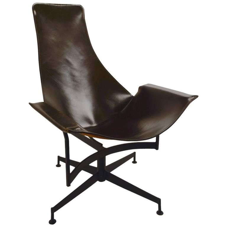 William Katavolos for Leathercrafter Leather Swivel Sling Chair