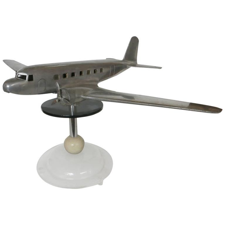 Light Stand Takara Spirit 3: Douglas DC-2 Airplane Aluminum Model Lamp, Circa 1934 For