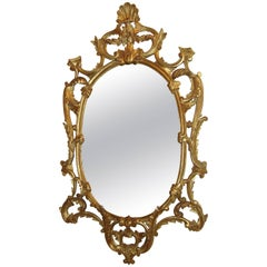 Italian Oval Giltwood Framed Wall Mirror