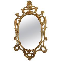 Italian Oval Giltwood Framed Wall Mirror