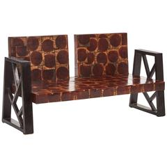 Unusual Oyster Cut Wood Block Two-Seat Settee Sofa with Ebonized Wood Arms
