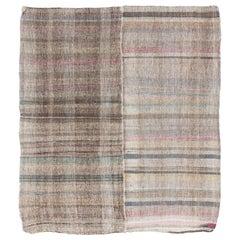 "Vintage ""Pala"" Kilim. Cotton Rag Rug. Flat-Weave Reversible Floor Covering"