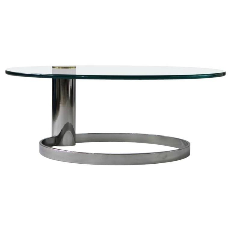 Pace Chrome Brass And Glass Cocktail Table At 1stdibs