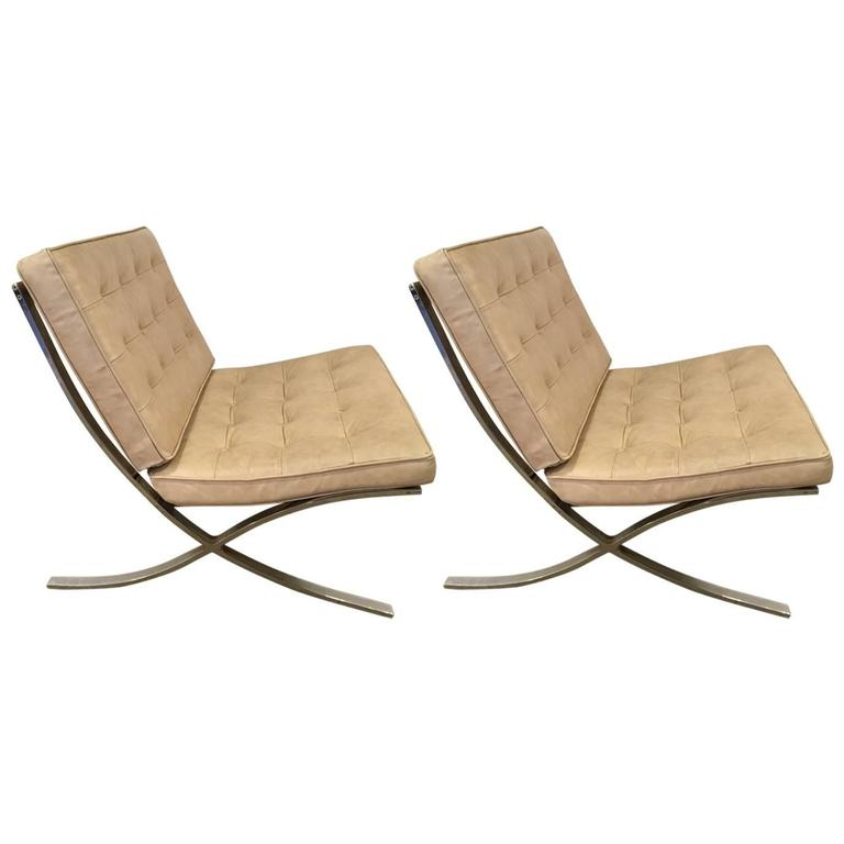 pair of vintage barcelona chairs mies van der rohe for sale at 1stdibs. Black Bedroom Furniture Sets. Home Design Ideas
