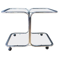 Chrome and Glass Bar Cart in the Manner of Milo Baughman