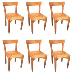 Guillerme & Chambron, Set of Six Oak Chairs, Edition Votre Maison