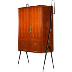Silvio Cavatorta Highboard Cabinet Mahogany and Brass, 1950