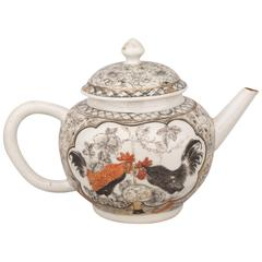 Chinese Export Porcelain Grisaille and Gilt Teapot with Chickens, 18th Century