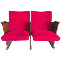 Poul Henningsen Pair of Red Velvet Cinema Seats