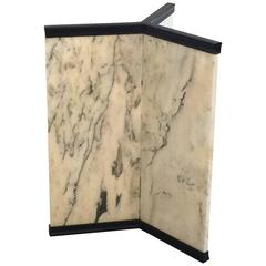 Fabulous Triangular Pace Style Marble and Rubbed Bronze Pedestal Base