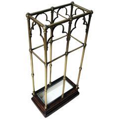 Fine Victorian Gothic Revival Brass and Oak Umbrella/Stick Stand circa 1870-1890
