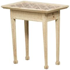 Early 19th Century Gustavian Tiled Table with One-Drawer