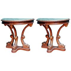 Pair of 1920s Stylized Dolphin Demilune Console Tables