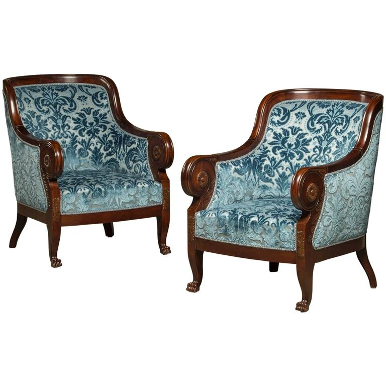Early 20th Century Pair Of Reupholstered Art Deco Bergere Chairs For Sale At