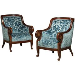 Early 20th Century Pair of Reupholstered Art Deco Bergere Chairs