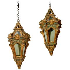 Rare Pair of Venetian Rococo Hanging Lanterns, 18th Century
