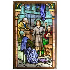 "46"" x 70"" Hand Painted Stained Glass Window 'Young Jesus Teaching in the Temple'"