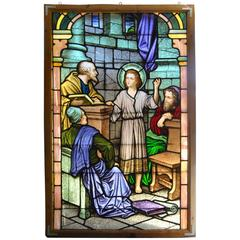 Large Hand Painted Stained Glass Window 'Young Jesus Teaching in the Temple'