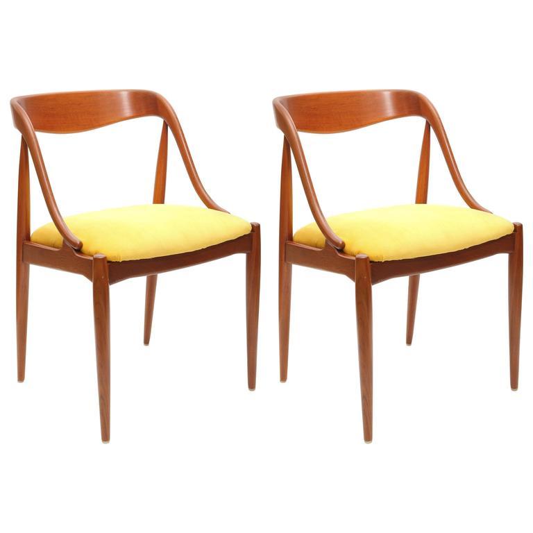 Pair of Johannes Andersen Teak Chairs, 1960s, Denmark