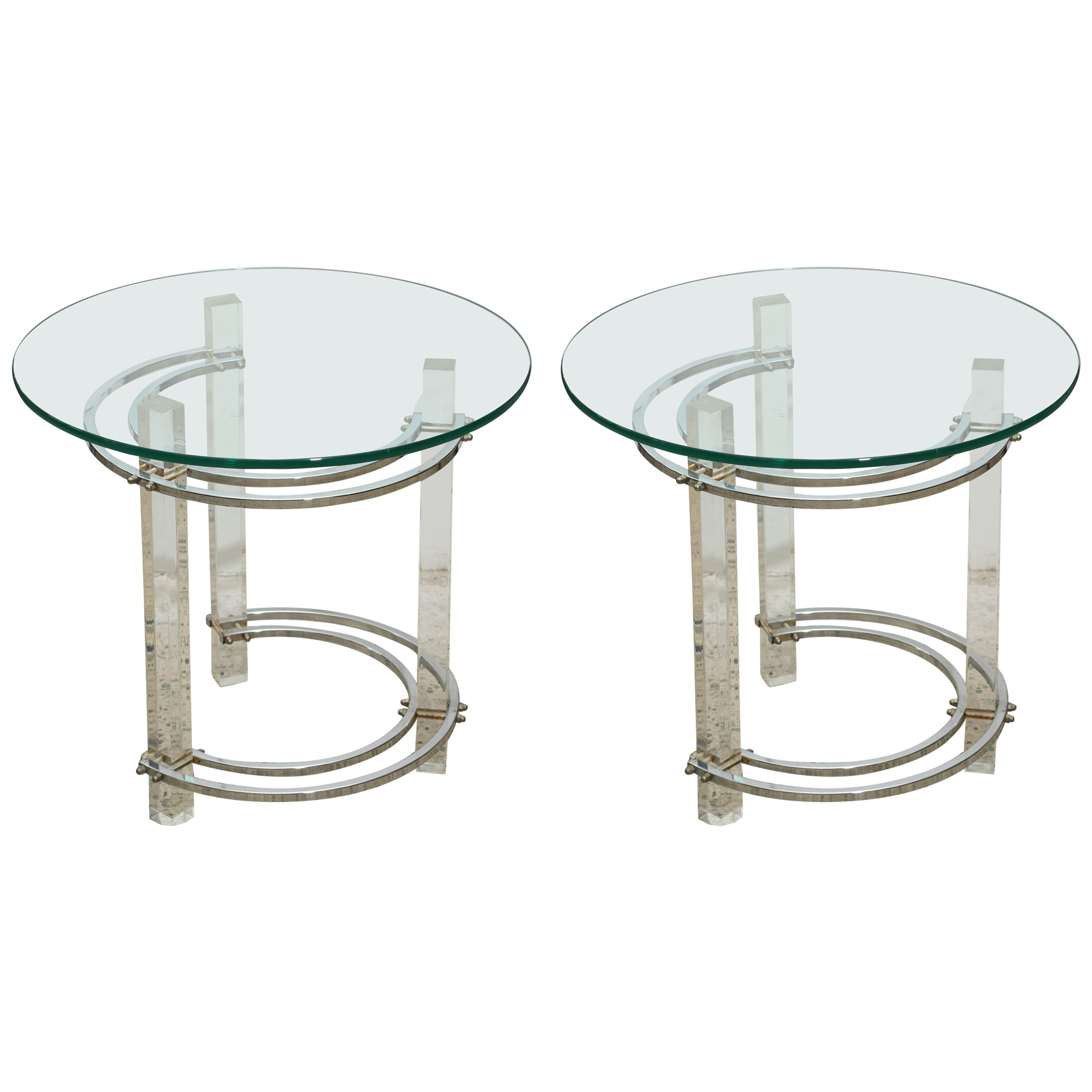 Pair of Round Chrome and Glass Charles Hollis Jones End Tables, USA, 1970s