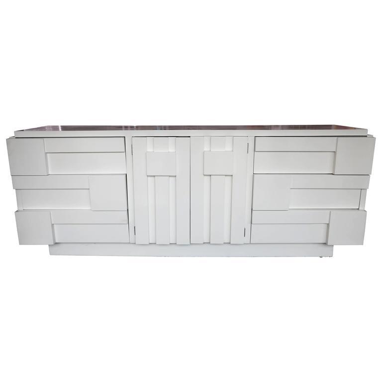 White Lacquer Milo Baughman for Lane Brutalist Dresser/Credenza, 1970s, USA