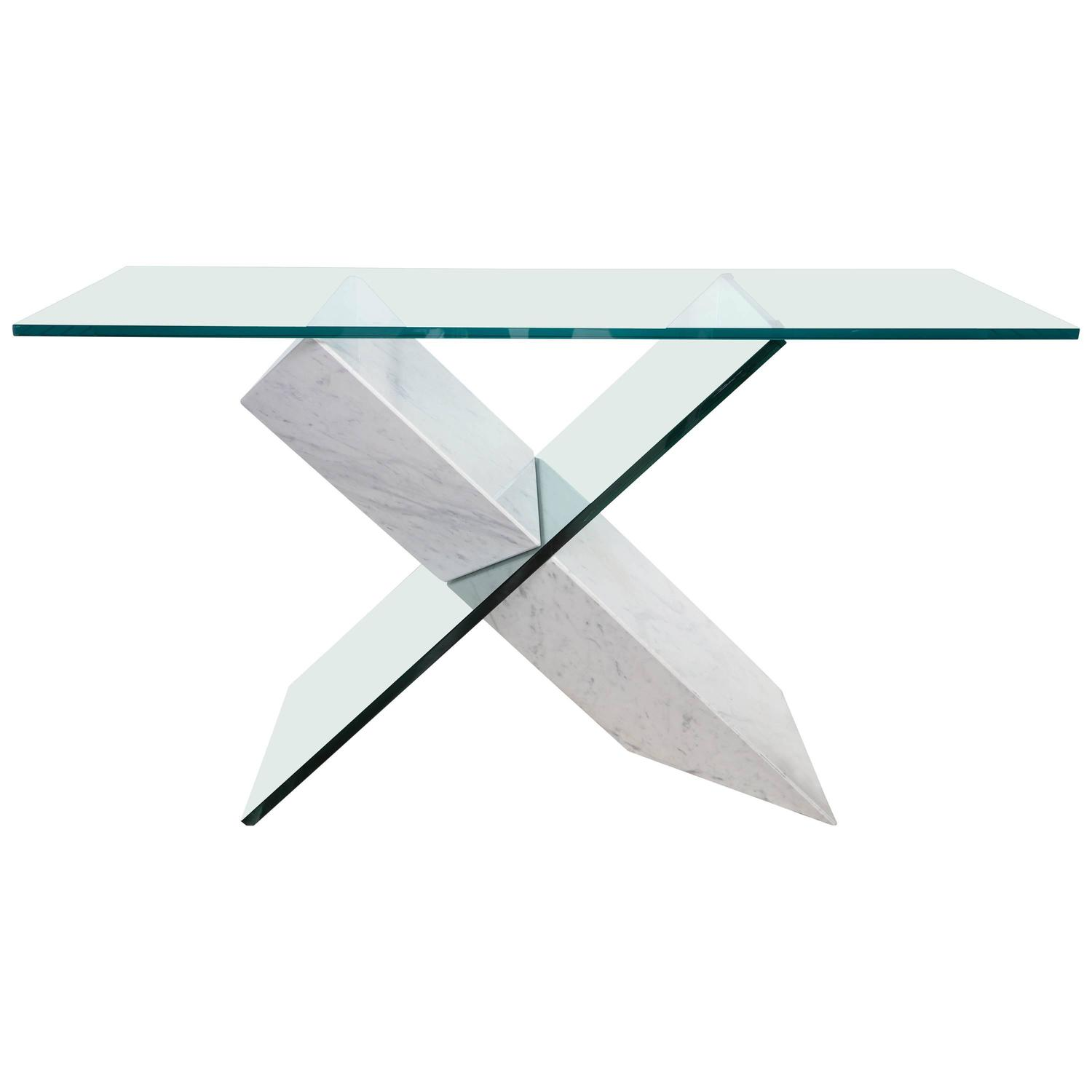 White Marble and Glass Geometric Console Table by Reflex for Roche