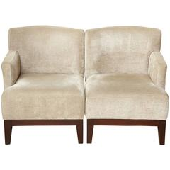 Pair of Modern Single Arm Wood and Upholstered Beige Chenille Chairs, Belgium
