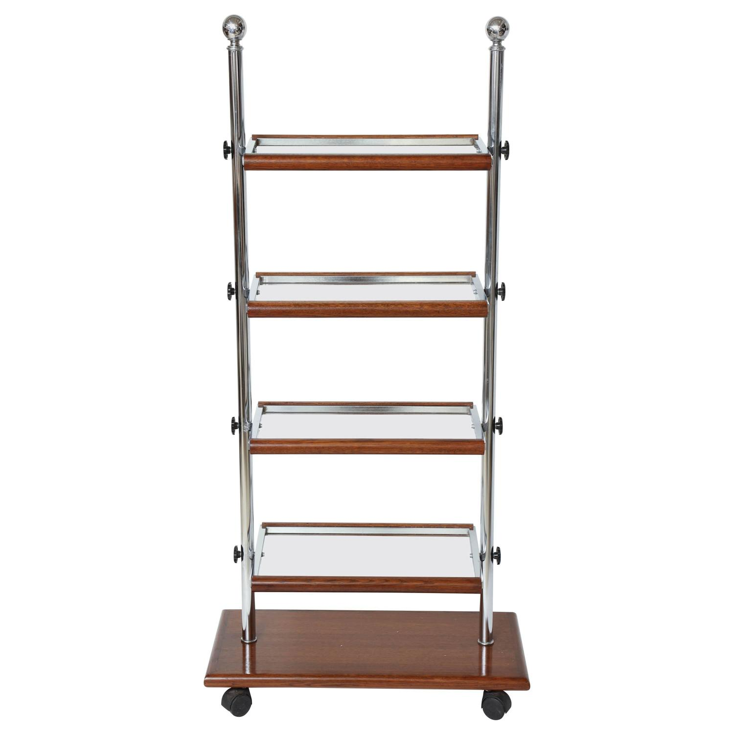 Unusual Chrome And Oak Wood Foling Etagere With Glass