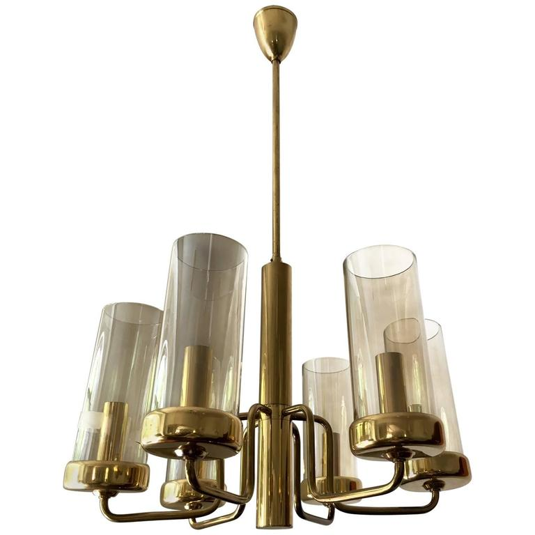 Brass Chandelier with Six Cylindrical Glass Globes, 1960s For Sale