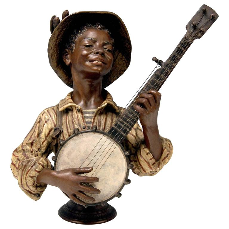 Goldscheider Friedrich Metal Alloy Paris France Boy Playing Banjo, circa 1895 For Sale