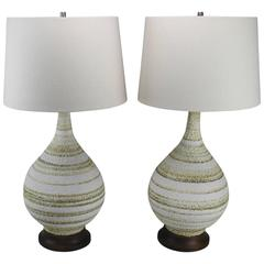 Vintage Pair of Mid-Century Modern Horizontal Striped Ceramic Lamps