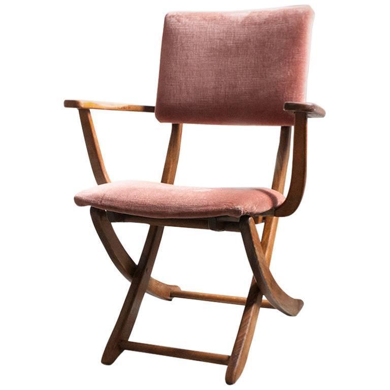 Italian Mid Century Chestnut Folding Chair 1950s at 1stdibs