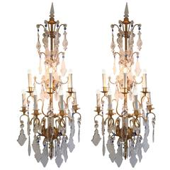 Pair of Large Italian Crystal and Gilt Iron Seven-Light Sconces circa 1940s