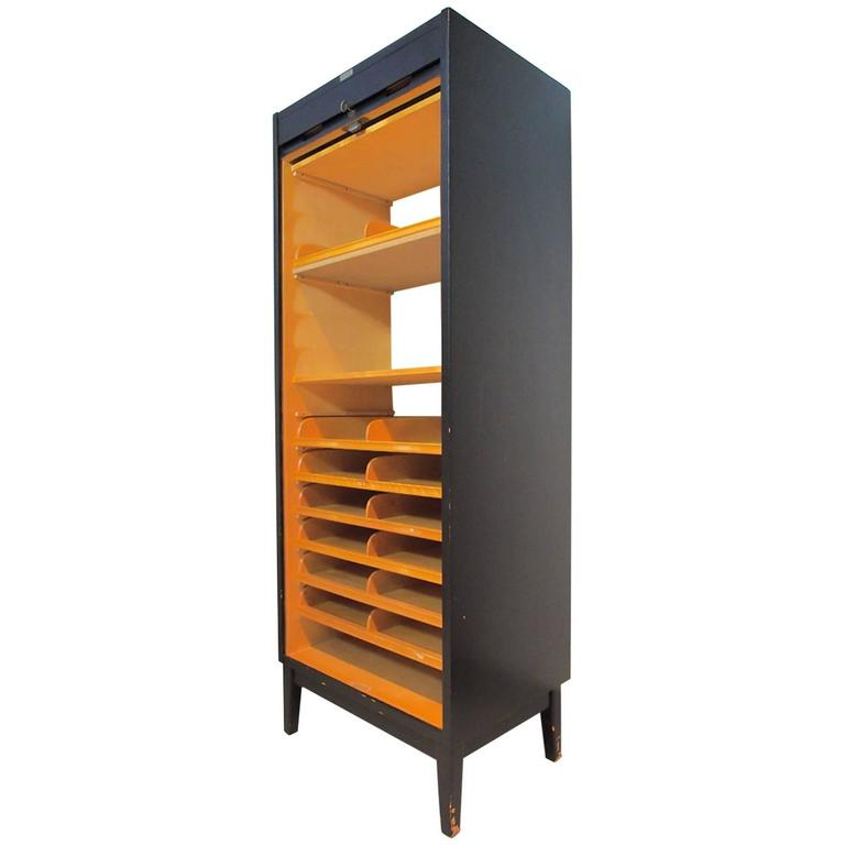 Tall Mid-Century Swedish Roll-Front File Cabinet
