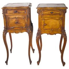 Pair of Louis XV Style Wooden Side Tables with Stone Top and Cabriole Legs